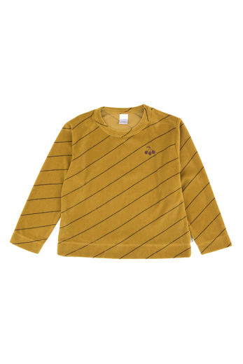 Tinycottons - diagonal stripes plush sweatshirt, mustard/plum