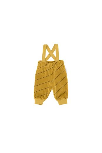 Diagonal stripes plush braces pant, mustard/plum