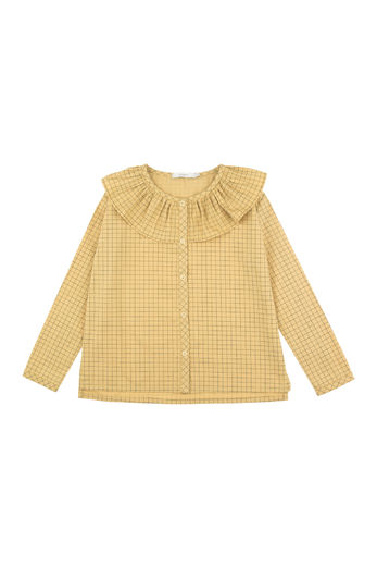 Tinycottons - Grid frilled collar blouse, sand/dark green