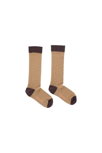 Diagonal stripes high socks, dark nude/plum