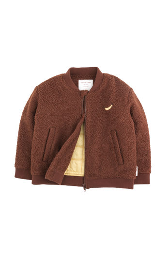 "Tinycottons - ""top banana"" boucle bomber jacket, brick"