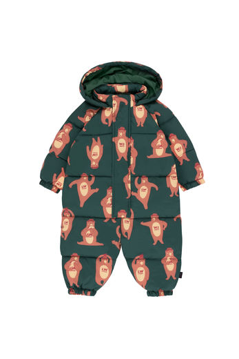 Tinycottons - BEARS ONE-PIECE toppahaalari, bottle green/brown