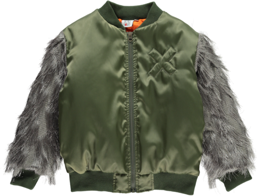 Beau LOves - Bomber fringed sleeves Loves, green