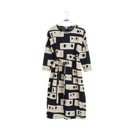 Papu - Cubic woman dress NO DISTANCE, Black / Sand