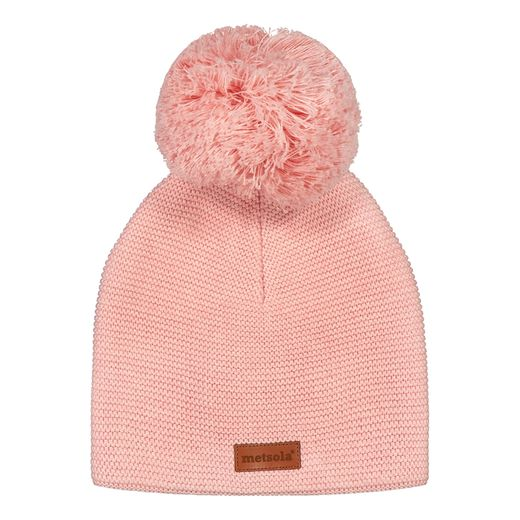 METSOLA - Cotton Classic Beanie, 1 Pom Pom, Powder puff