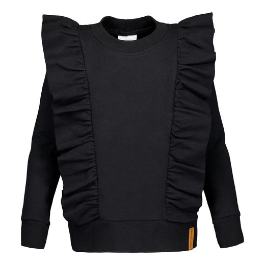 METSOLA - Girl frilla shirt LS, Black