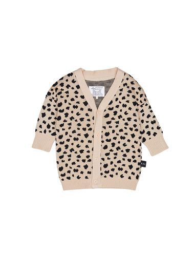 Huxbaby - Leopard Knit Cardi, Biscuit