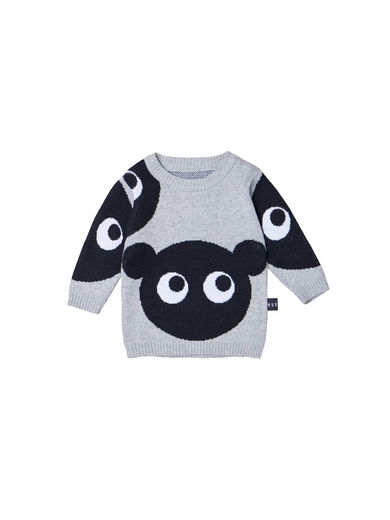 Huxbaby - SHADOW BEAR KNIT JUMPER, Grey Marle