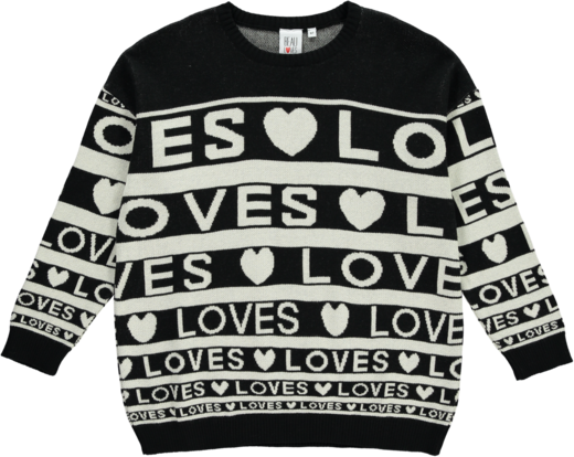 Beau LOves - Knit sweater Love stripes, black/cream