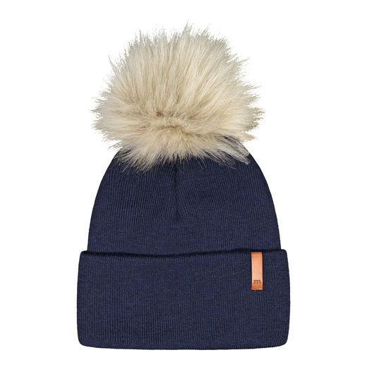 METSOLA - Knitted rib Beanie folded + FUR, Arctic Sea