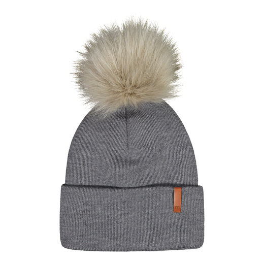 METSOLA - Knitted rib Beanie folded + FUR, Granite