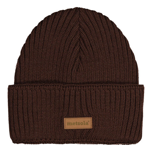 METSOLA - Knitted Beanie RIB folded, Coffe