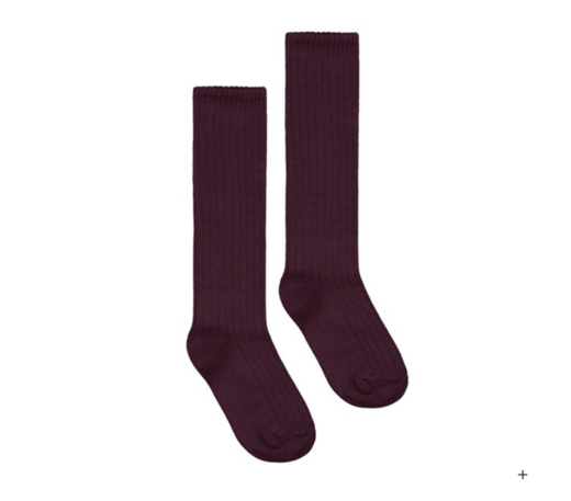 GRAY LABEL -  Long Ribbed Socks, Plum