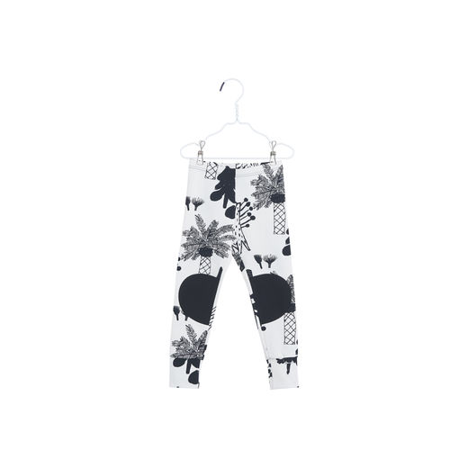 Papu - PATCH LEGGINGS HIDDEN FOREST + Solid, White sand / Black