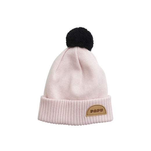 Papu - POM POM WOOL BEANIE Kid, Heather pink / Black