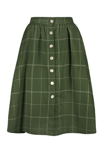 Kaiko - Woman Grid Button Skirt, Moss