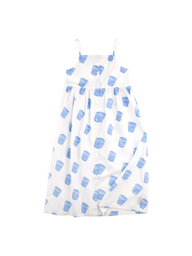 Tinycottons - Pots wv dress, off-white/light cerulean blue