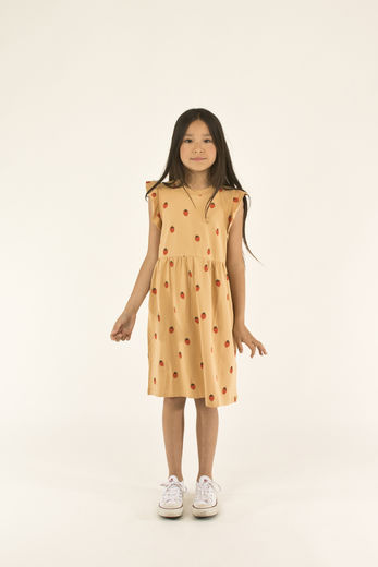 Tinycottons - STRAWBERRIES DRESS, toffee/red