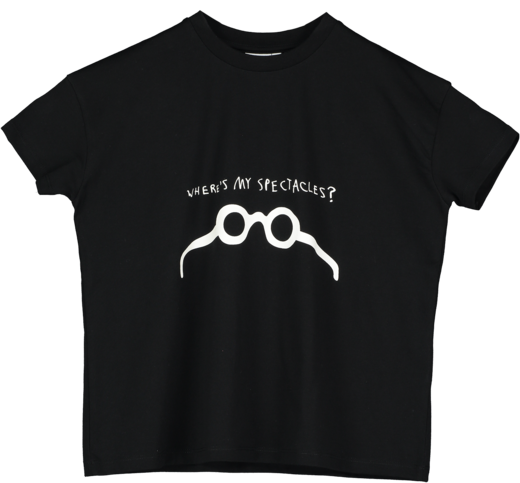 Beau LOves - Where's My Spectacles? Short Sleeve Square T-shirt, Black
