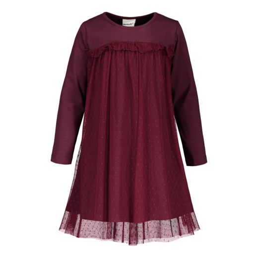 METSOLA - Tricot dress with dot tulle, Amaranth