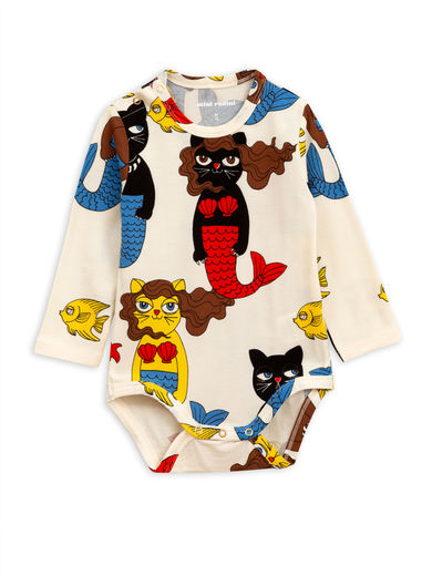 Mini Rodini - Cat mermaid ls body, Offwhite