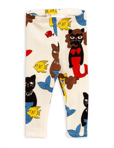 Mini Rodini - Cat mermaid leggings, Offwhite