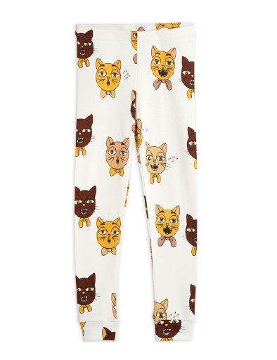 Mini Rodini - Cat choir aop leggings, offwhite