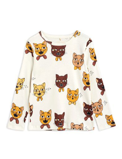 Mini Rodini - Cat choir aop LS tee, offwhite
