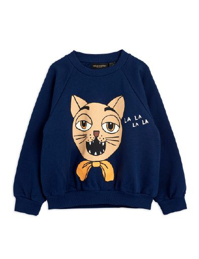 Mini Rodini -  Cat choir sp sweatshirt, navy