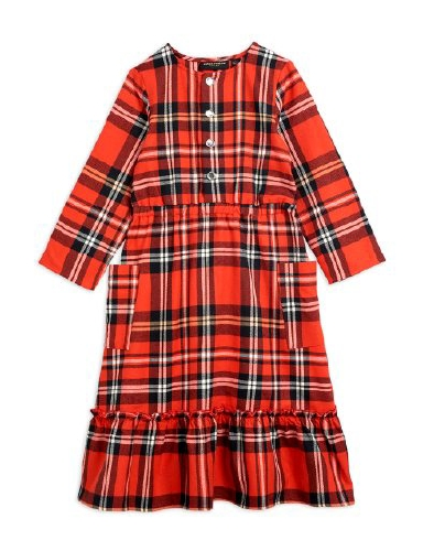 Mini Rodini -  Woven flanell flounce dress, Red