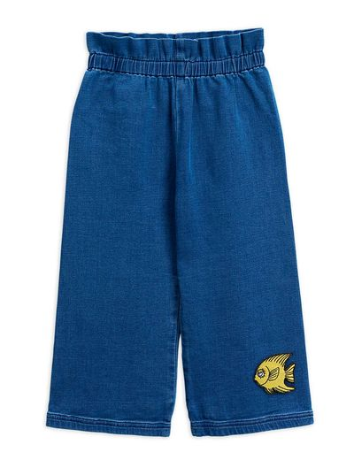 Mini Rodini - Denim paper bag trousers, blue