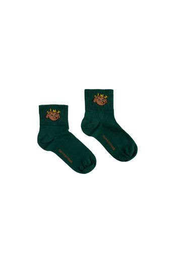 "Tinycottons - ""TINY DOG"" QUARTER SOCKS dark green/sienna"