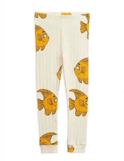 Mini Rodini - Fish aop leggings, Offwhite