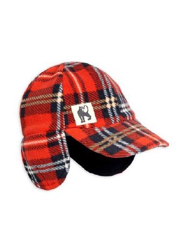 Mini Rodini - Fleece check cap, Red