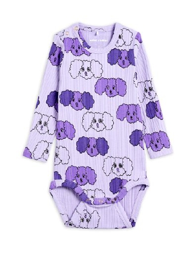 Mini Rodini - Fluffy dog aop ls body, Purple