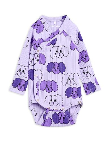 Mini Rodini - Fluffy dog aop wrap body,  purple