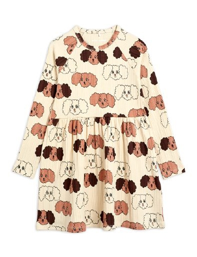 Mini Rodini -  Fluffy dog aop ls dress, Beige