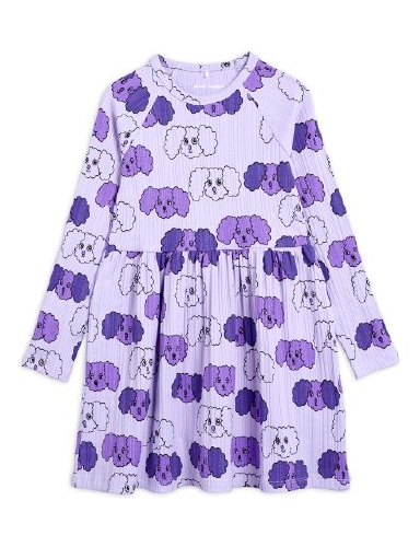 Mini Rodini -  Fluffy dog aop ls dress, purple