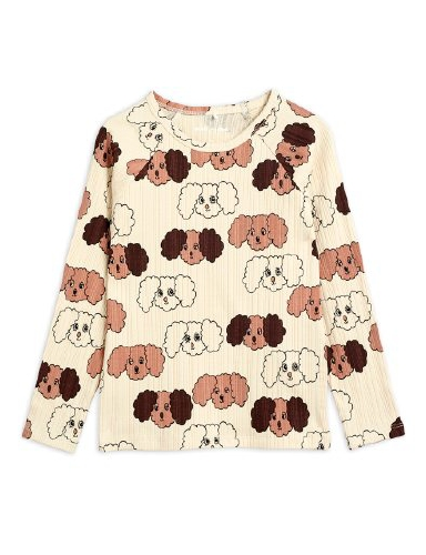 Mini Rodini - Fluffy dog aop ls tee, Beige