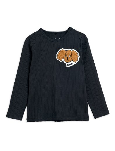 Mini Rodini - Fluffy dog patch ls tee, Black