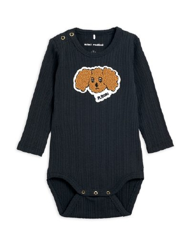 Mini Rodini - Fluffy dog patch ls body, Black