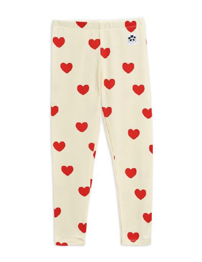 Mini Rodini - Hearts leggings, offwhite
