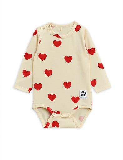 Mini Rodini - Hearts ls body, offwhite