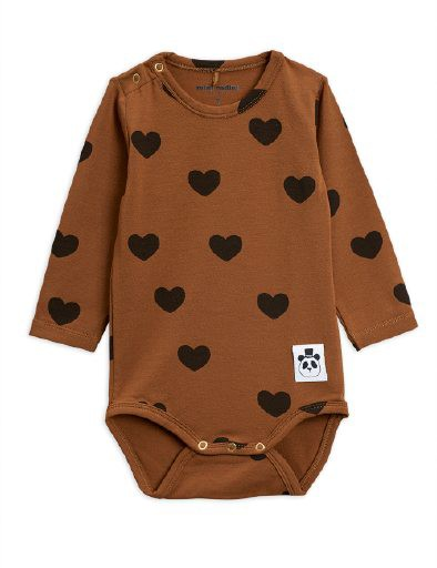 Mini Rodini - Hearts ls body, brown