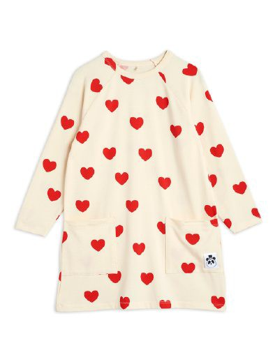 Mini Rodini - Hearts ls dress, offwhite
