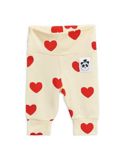 Mini Rodini - Hearts aop nb leggings, Offwhite