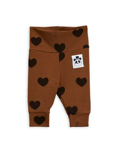 Mini Rodini - Hearts aop nb leggings, brown