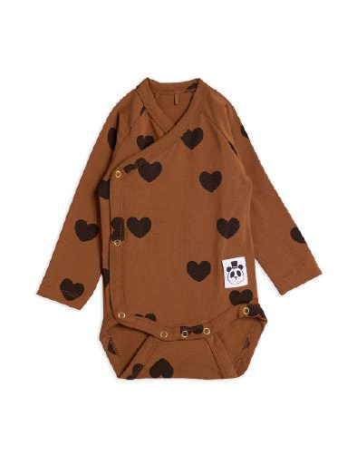 Mini Rodini - Hearts wrap body, brown
