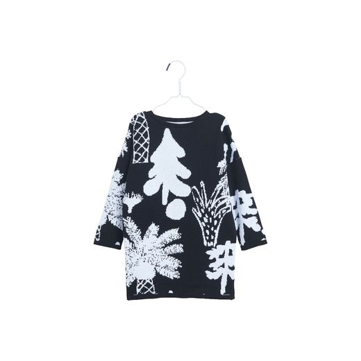 Papu - KNIT DRESS HIDDEN FOREST, Black, White sand