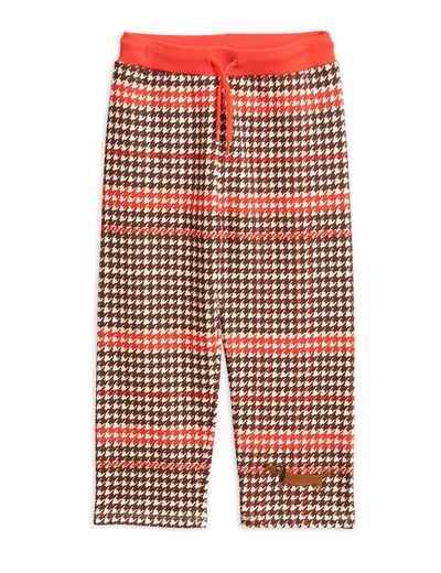 Mini Rodini - Houndstooth sweatpants, red